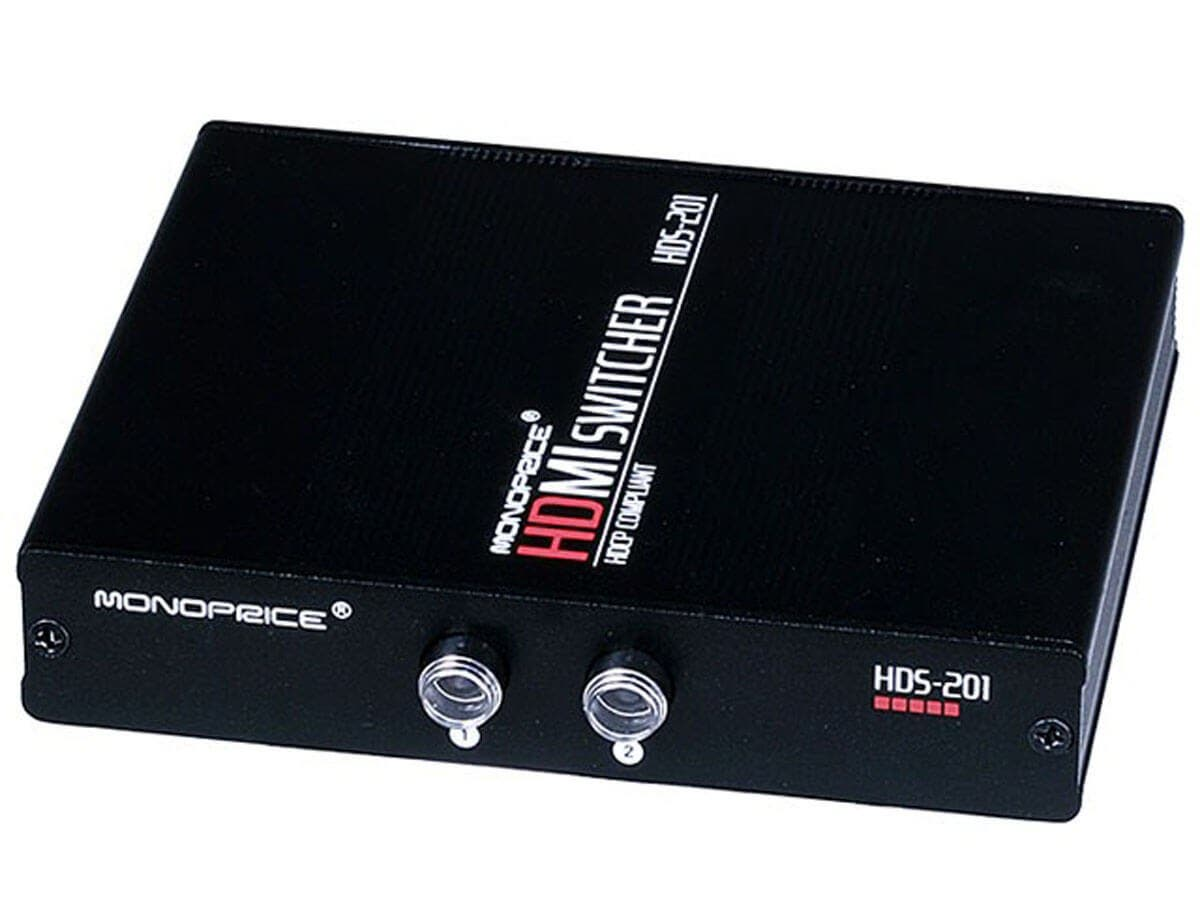 Monoprice 2X1 Manual HDMI® Switch - Push Button Type (Open Box)-Large-Image-1