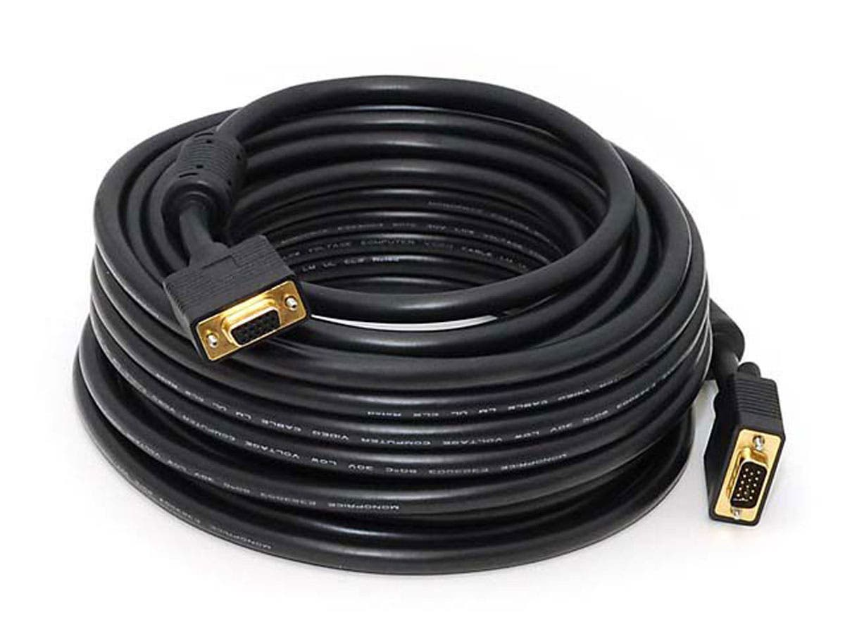 Monoprice 50ft Super VGA M/F CL2 Rated (For In-Wall Installation) Cable w/ Ferrites (Gold Plated)-Large-Image-1