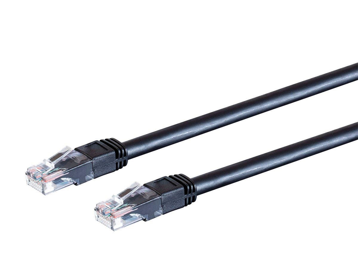 Monoprice Cat6 Outdoor Rated Ethernet Patch Cable - Molded RJ45 Connectors, Stranded, 550MHz, UTP, Pure Bare Copper Wire, 24AWG, 1ft, Black - main image