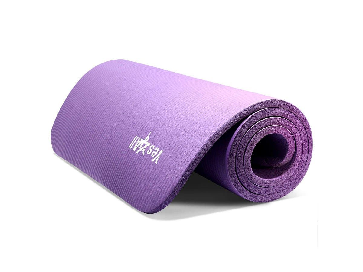 """Yes4All Premium NBR Printed Yoga Mat 1/2-inch (72""""x24"""") with Carrying Strap (purple)-Large-Image-1"""