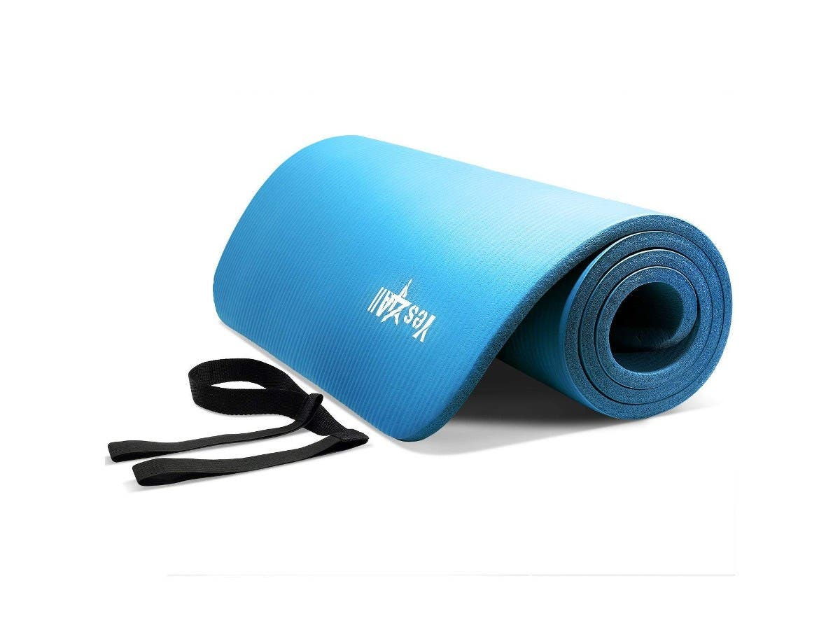 "Yes4All Premium NBR Printed Yoga Mat 1/2-inch (72""x24"") with Carrying Strap - Blue-Large-Image-1"