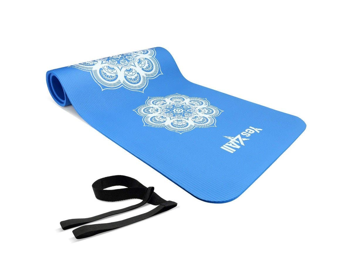 "Yes4All Premium NBR Printed Yoga Mat 1/2-inch (72""x24"") with Carrying Strap - Hypnotica Blue-Large-Image-1"
