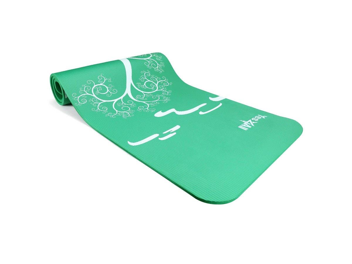 """Yes4All Premium NBR Printed Yoga Mat 1/2-inch (72""""x24"""") with Carrying Strap - Roots & Beginnings Green-Large-Image-1"""