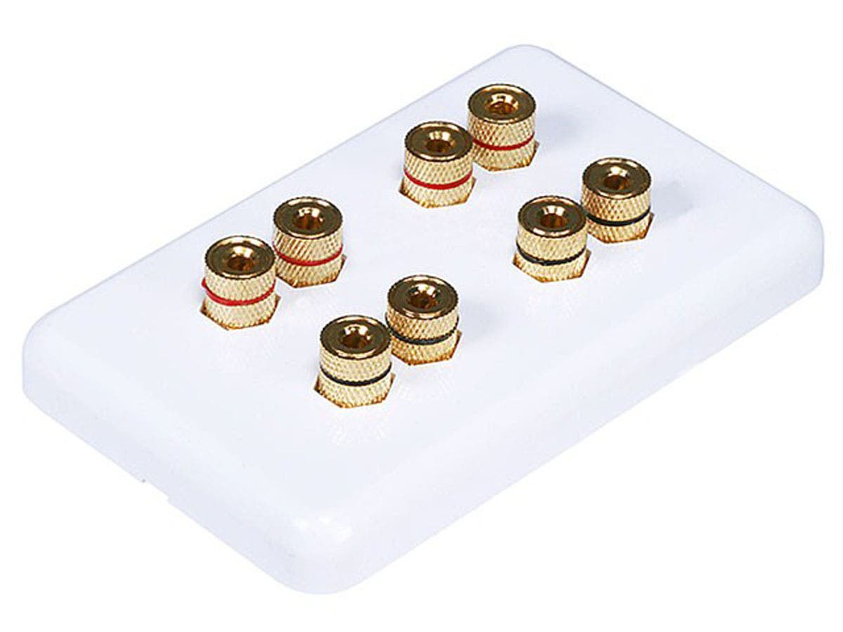 8 Pack Lot 1 Speaker 2 Binding Post Banana Jack Wall Plate Face Plate White