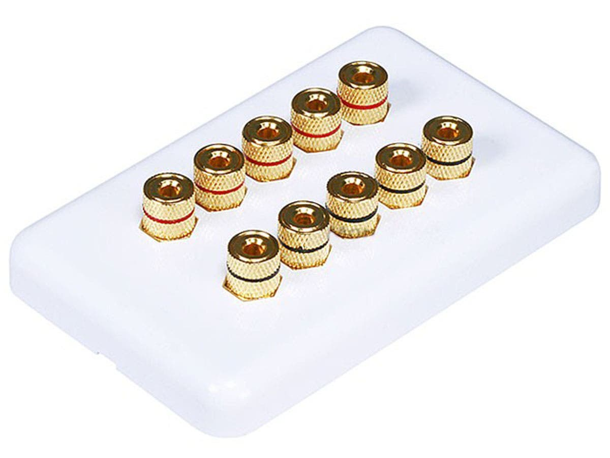 Monoprice High Quality Banana Binding Post Wall Plate for 5 Speaker - Coupler Type-Large-Image-1