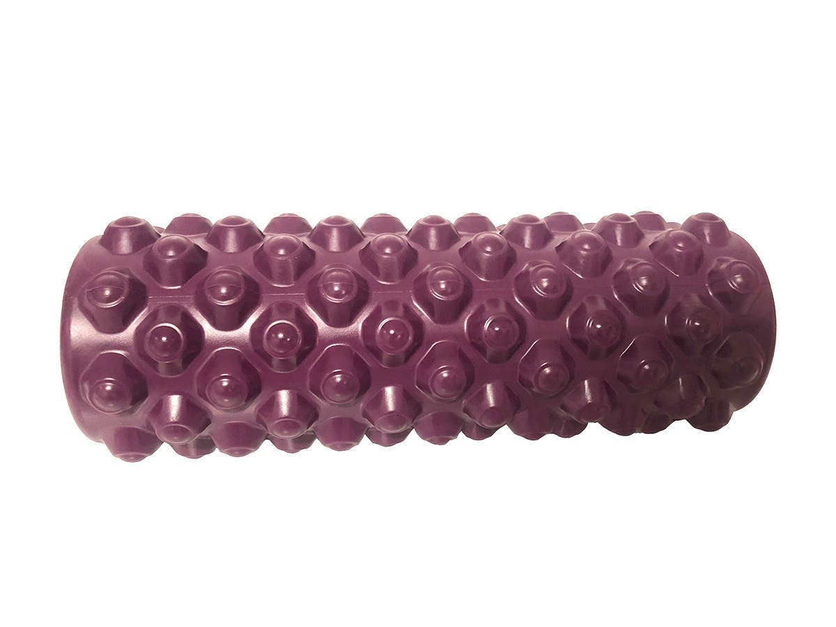"""14"""" Patterned textured Muscle foam roller for yoga fitness Purple Grid body Massage -Large-Image-1"""