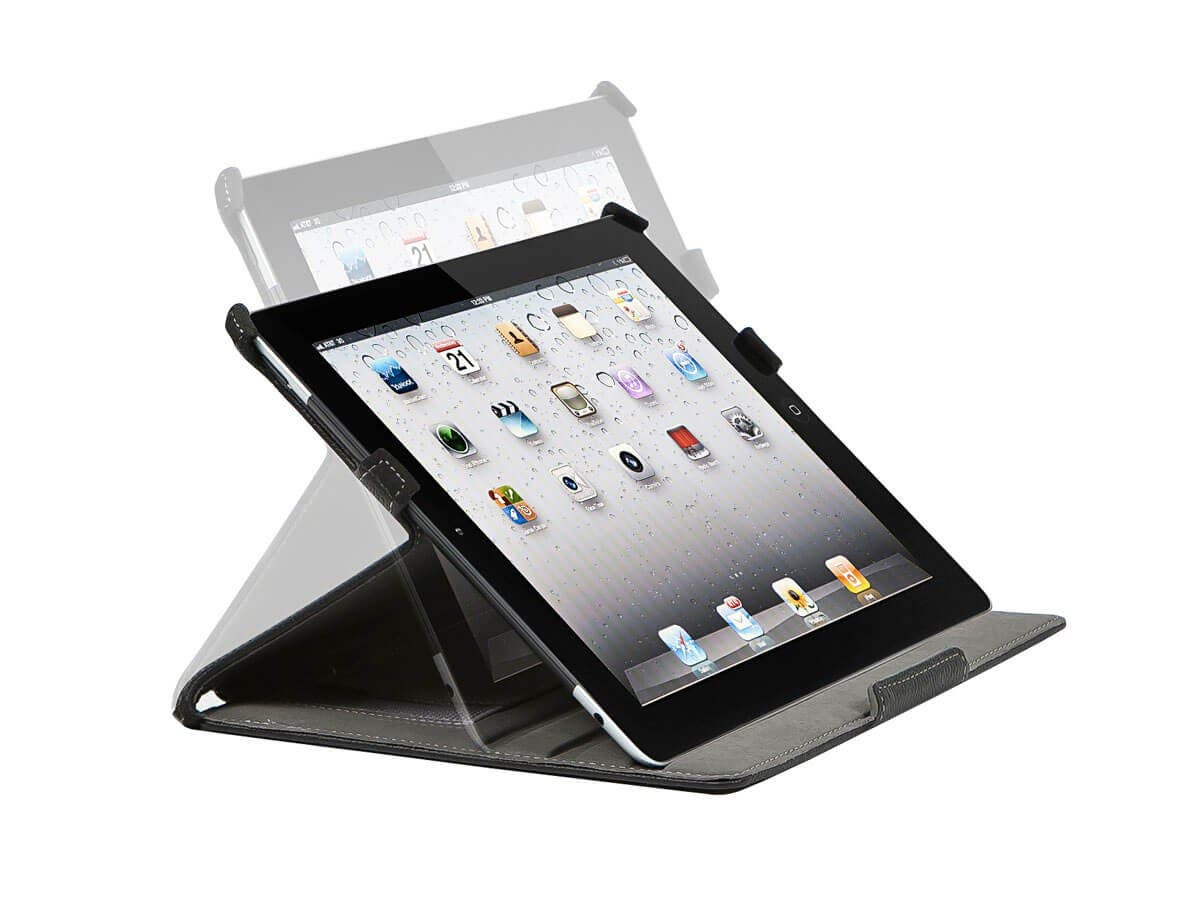 Monoprice Duo Case and Stand with Magnetic Latch for iPad Air, Black (Open Box)-Large-Image-1