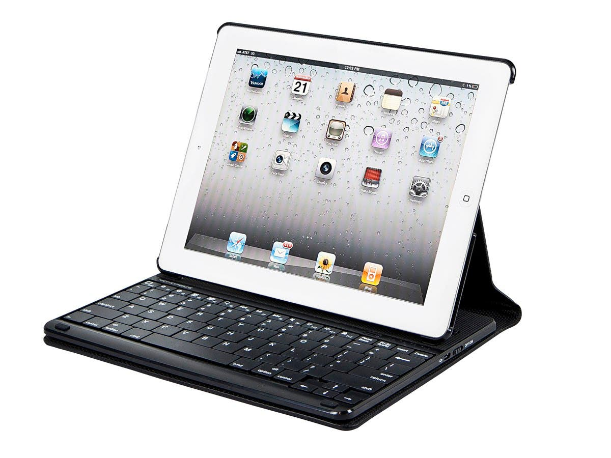 Monoprice Keyboard Folio with Mechanical Keys for iPad 2, iPad 3, iPad 4, Black with Black Keys (Open Box)-Large-Image-1
