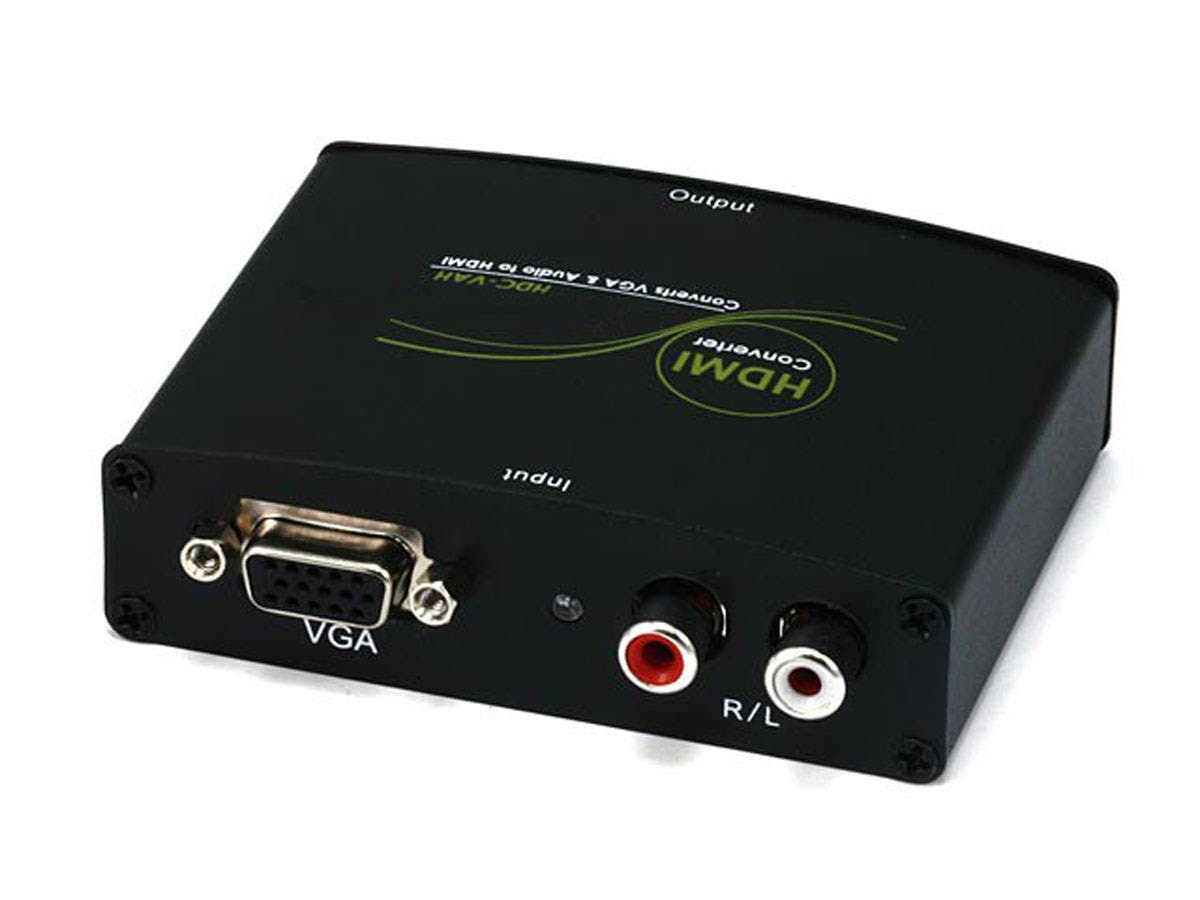 Monoprice VGA & R/L Stereo Audio to HDMI Converter with DC Adapter (Open Box)-Large-Image-1