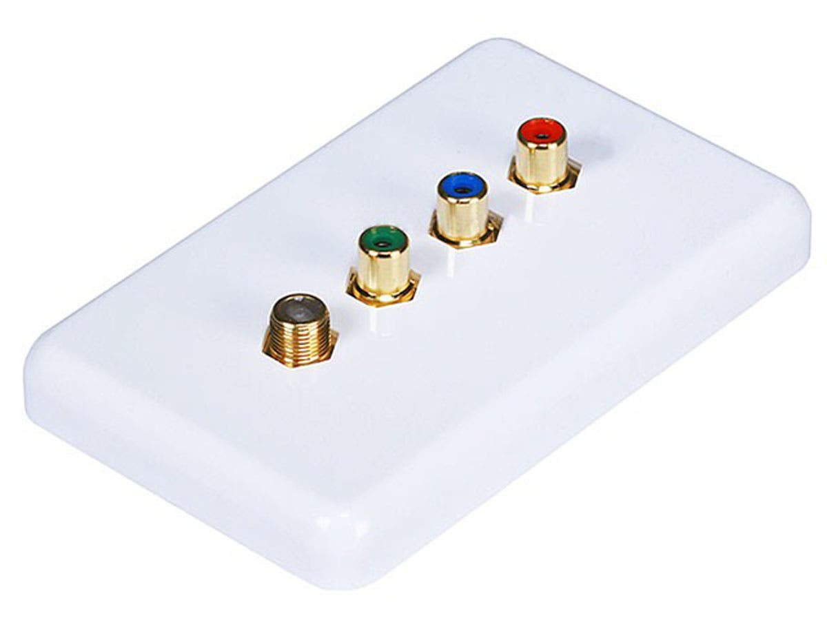 3 RCA Component / F Connector Wall Plate (RGB Component + F Connector) - Coupler Type -Large-Image-1