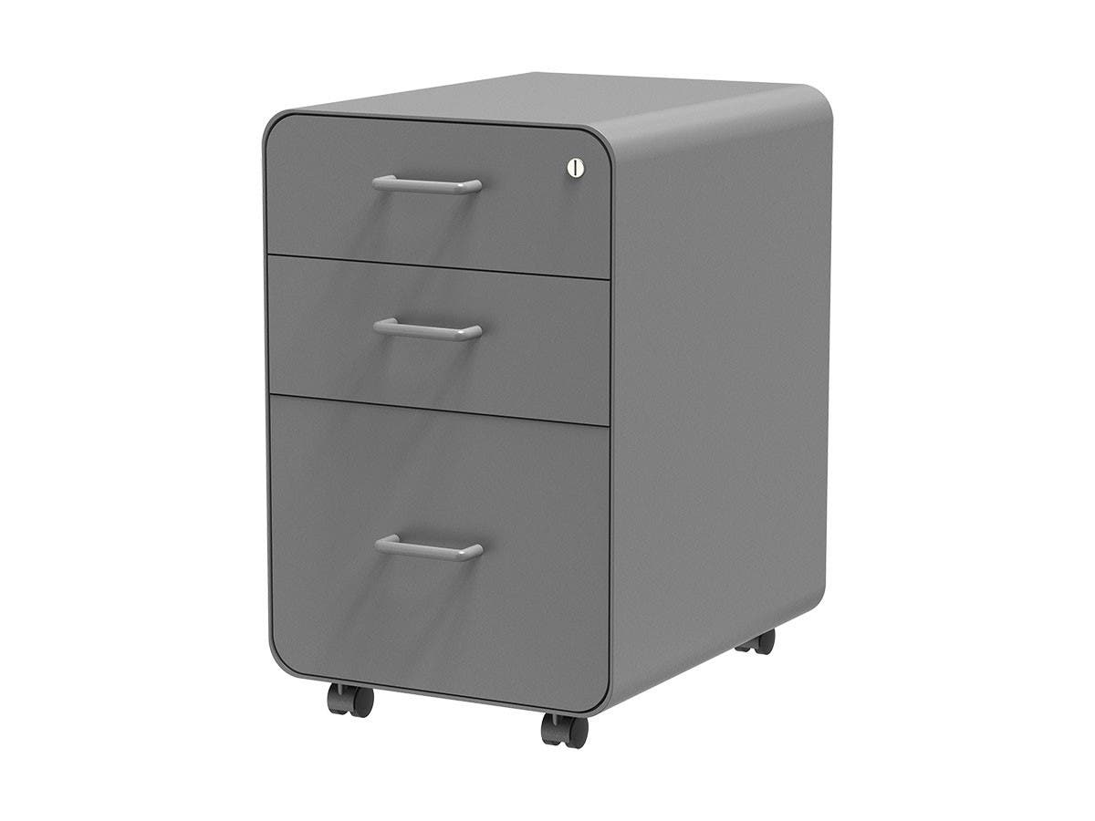 Workstream by Monoprice Rolling Round Corner 3-Drawer File Cabinet, Gray-Large-Image-1
