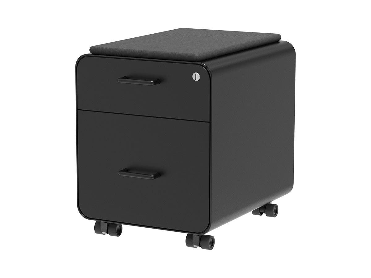Workstream by Monoprice Rolling Round Corner 2-Drawer File Cabinet with Seat Cushion, Black-Large-Image-1