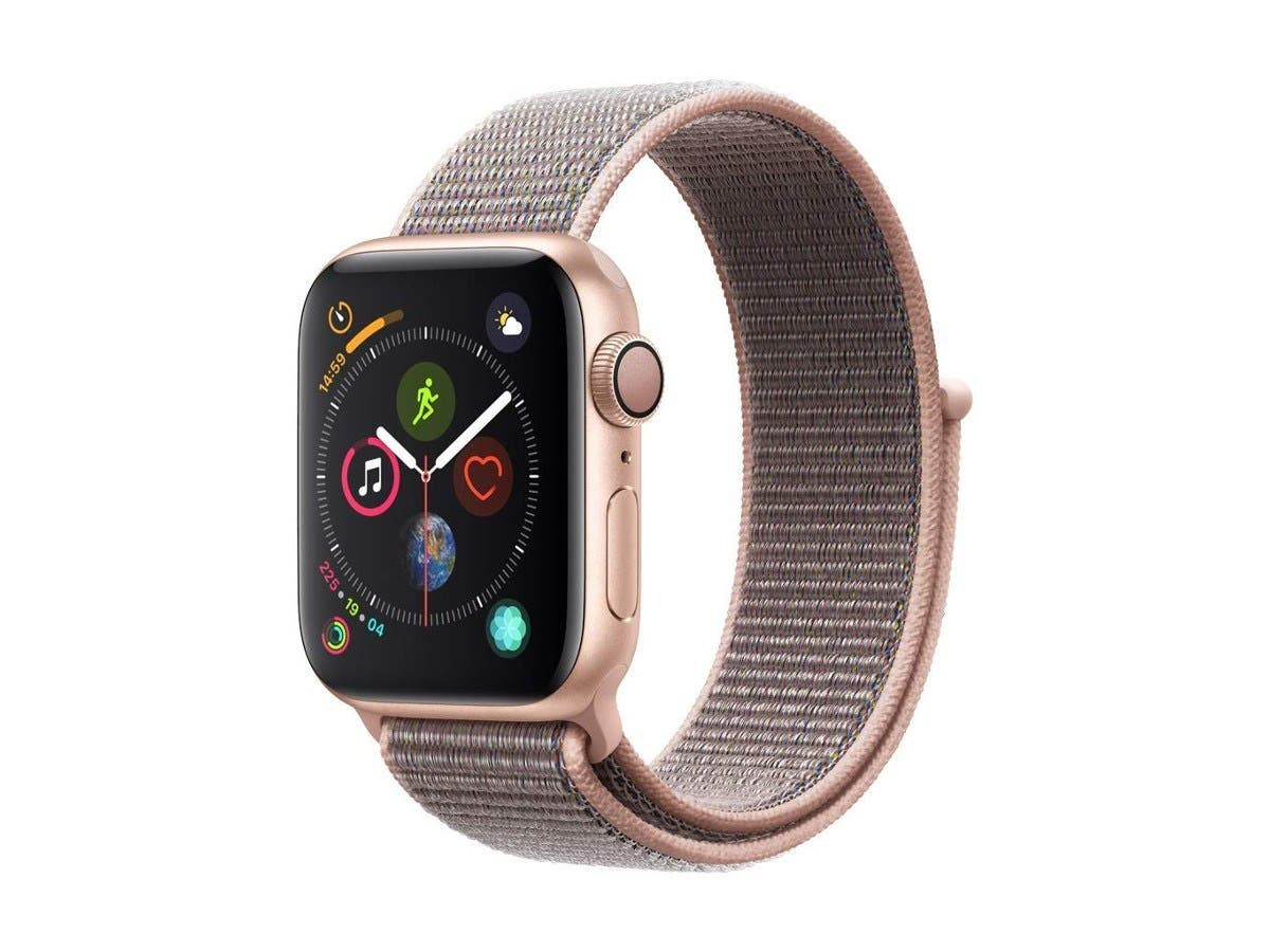 Apple - Apple Watch Series 4 (GPS) 40mm Gold Aluminum Case with Pink Sand Sport Loop - Gold Aluminum MU692LL/A-Large-Image-1