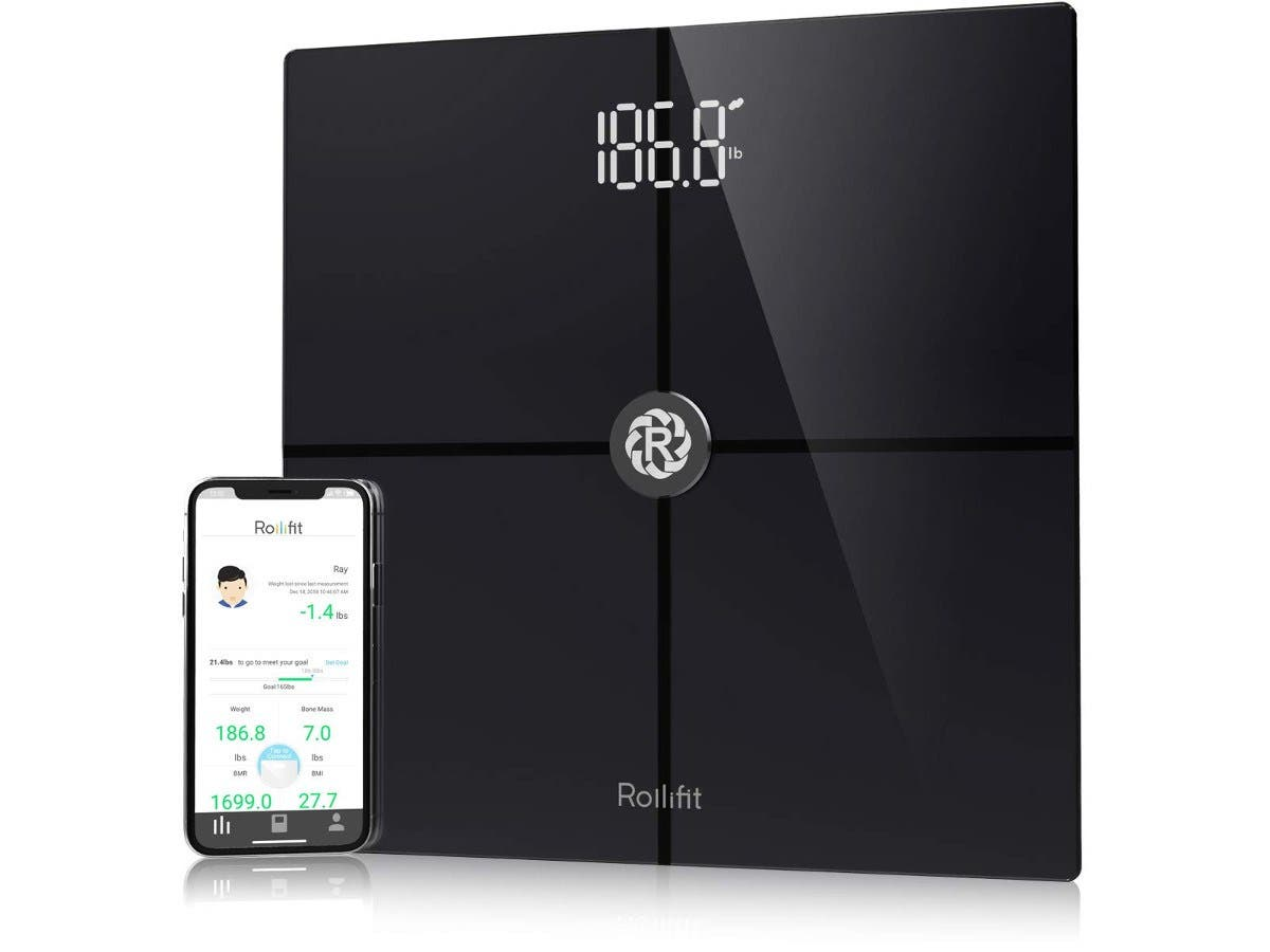 Rollifit Premium Smart Scale - Body Fat Scale with Fitness APP & Body Composition Monitor  Works w/ Android/iPhone 8/iPhone X Black-Large-Image-1