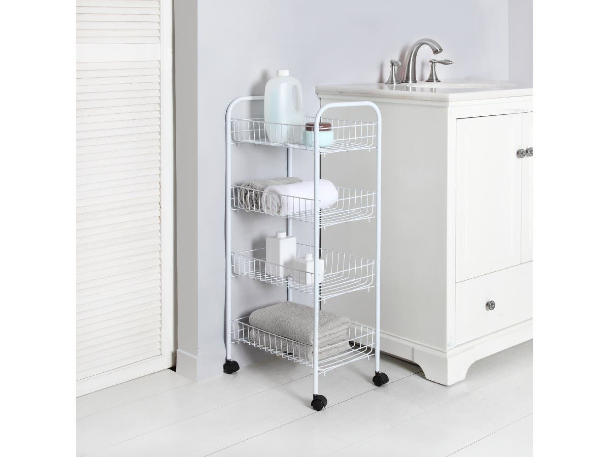 Mainstays 4 Tier Wire Rolling Cart Storage Kitchen Mobile Utility Organizer White 10