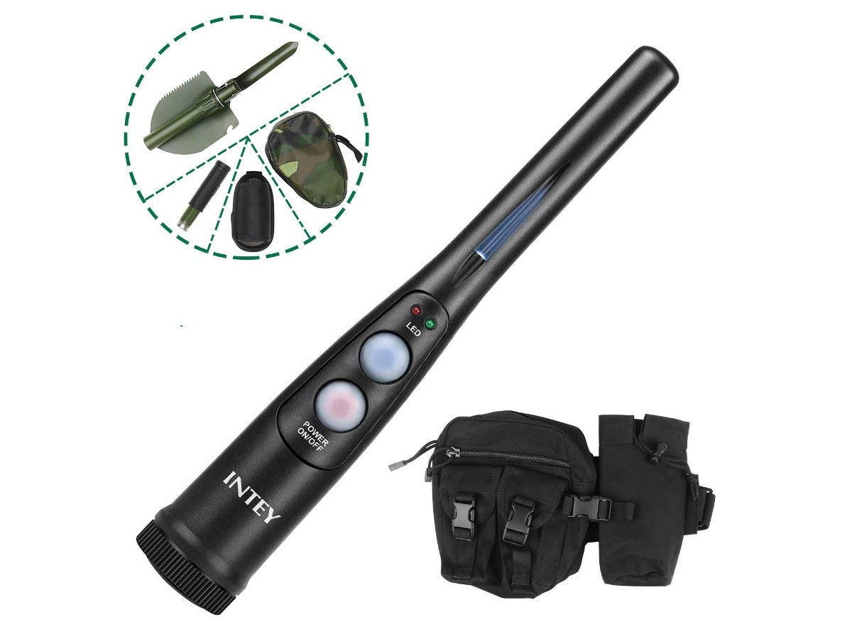 INTEY Hunter Series Pin-Pointer: Detecting Metals and Coins with 180° Rotatable Shovel & Waist Bag kit-Large-Image-1