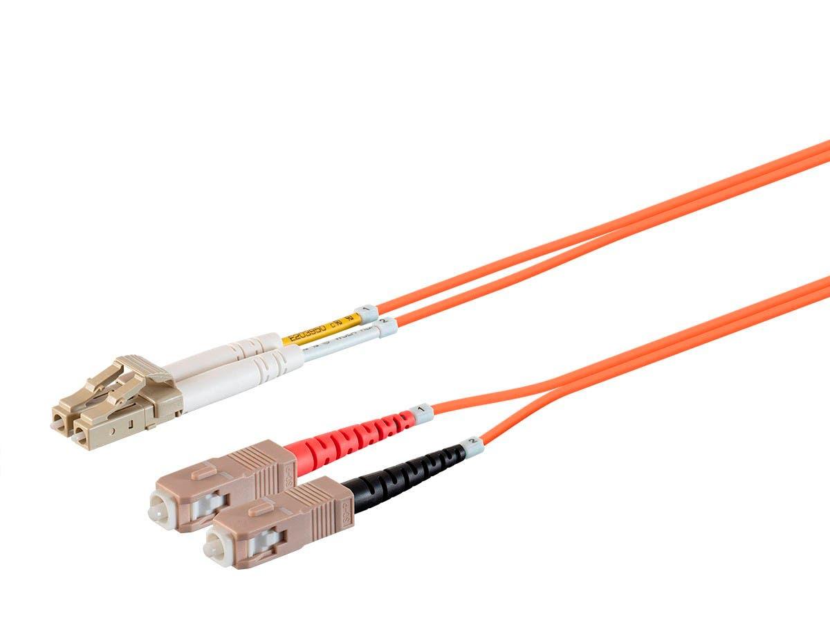 Monoprice OM1 Fiber Optic Cable -LC/UPC-SC/UPC, Multi Mode, Duplex, 62.5/125μm Type, 2.0mm, PVC, 1m-Large-Image-1