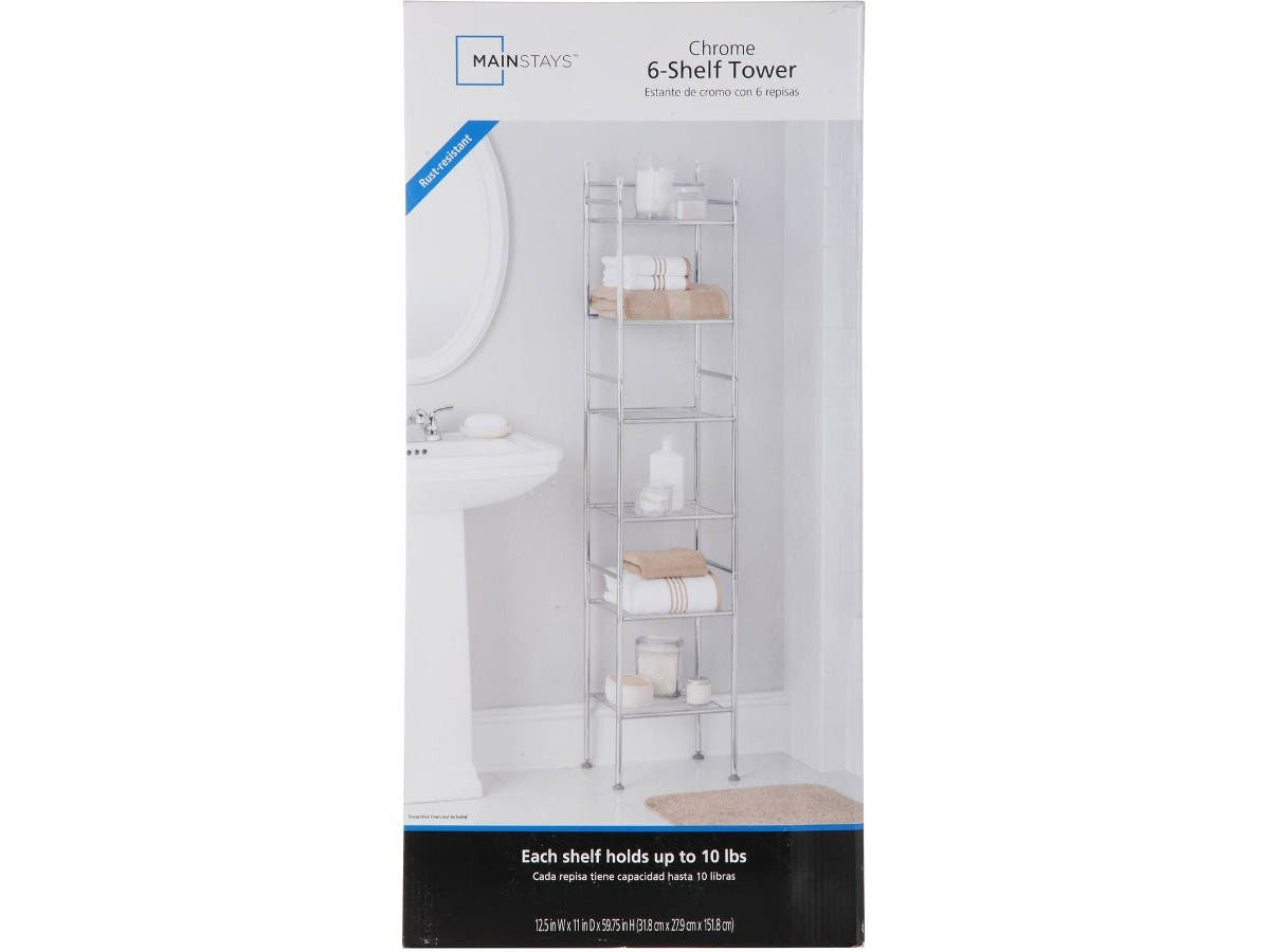 "Mainstays 6-Tier Shelf Tower, Kitchen Living room office organizer Chrome Finish 13"" x 13"" x 61.5""-Large-Image-1"