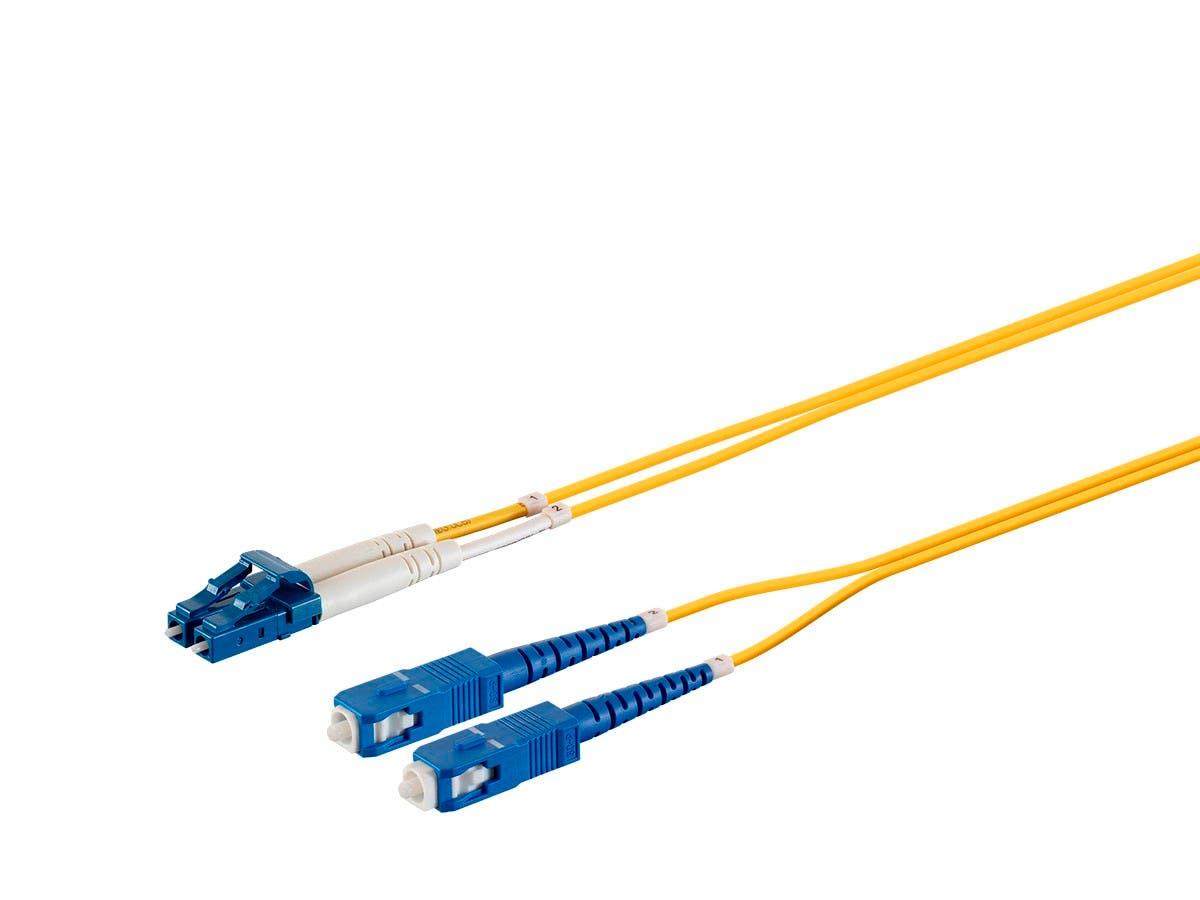 Monoprice Single Mode Fiber Optic Cable - LC/SC, 9/125 Type, Duplex, Yellow, 2m - main image