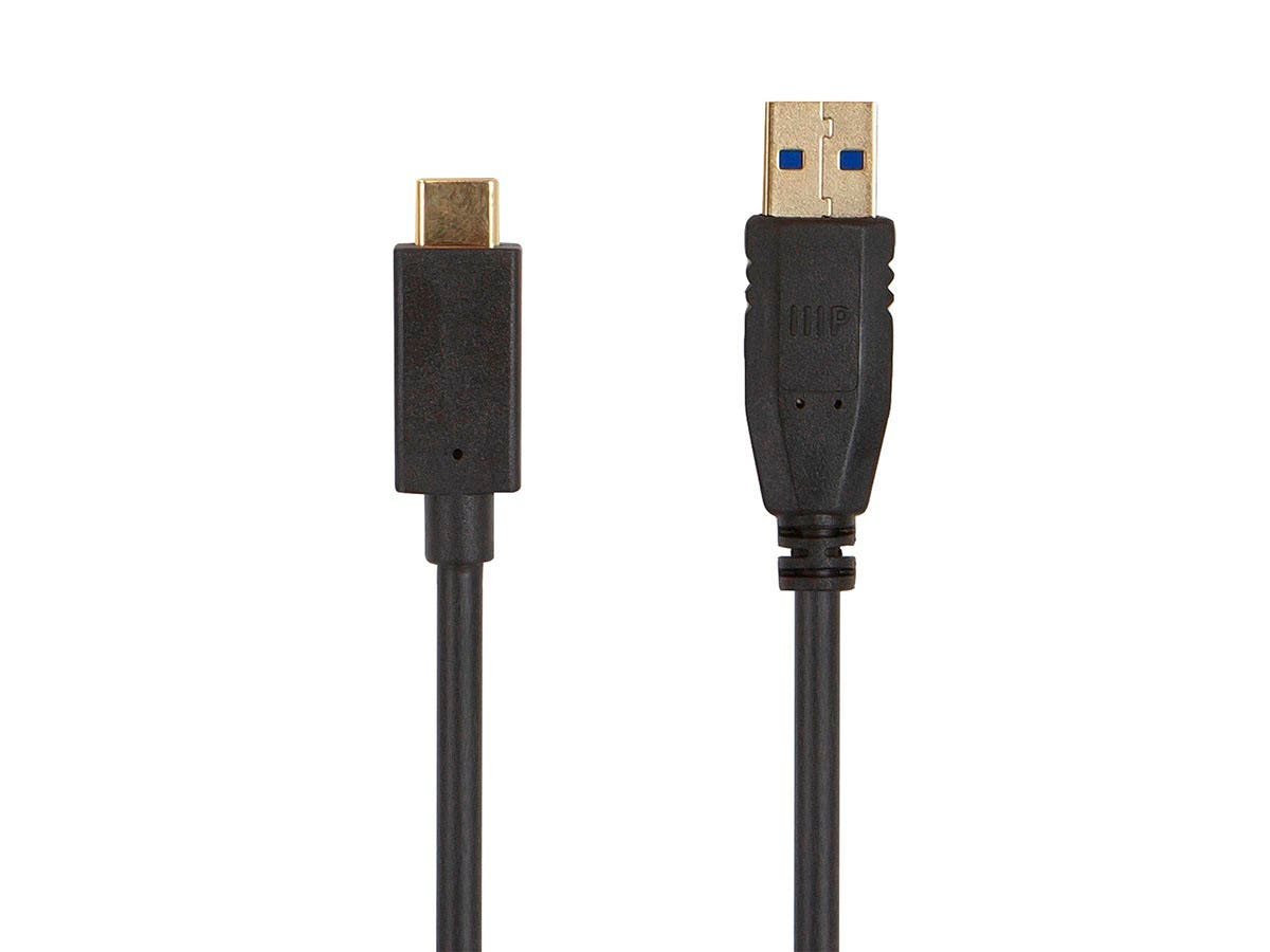 Monoprice Select USB 3.0 Type-C to Type-A Cable, 6ft, Black-Large-Image-1