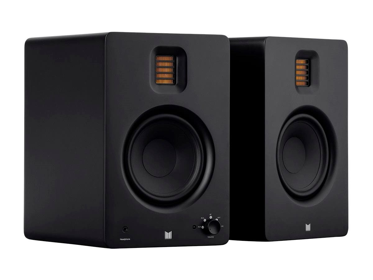 Monolith by Monoprice MM-5R Powered Multimedia Speakers Ribbon Tweeter with Bluetooth with Qualcomm aptX HD Audio, USB DAC, Optical Inputs, Subwoofer Output, and Remote Control (Pair), Black - main image