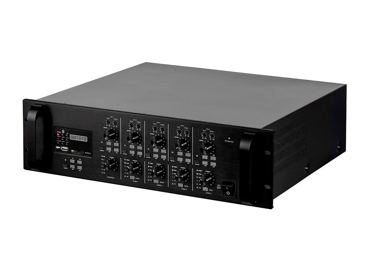 Monoprice Commercial Audio 4x120W 4-Channel/4-Zone Mixer Matrix 100/70V with Digital Media Player (No Logo) (Open Box)-Large-Image-1