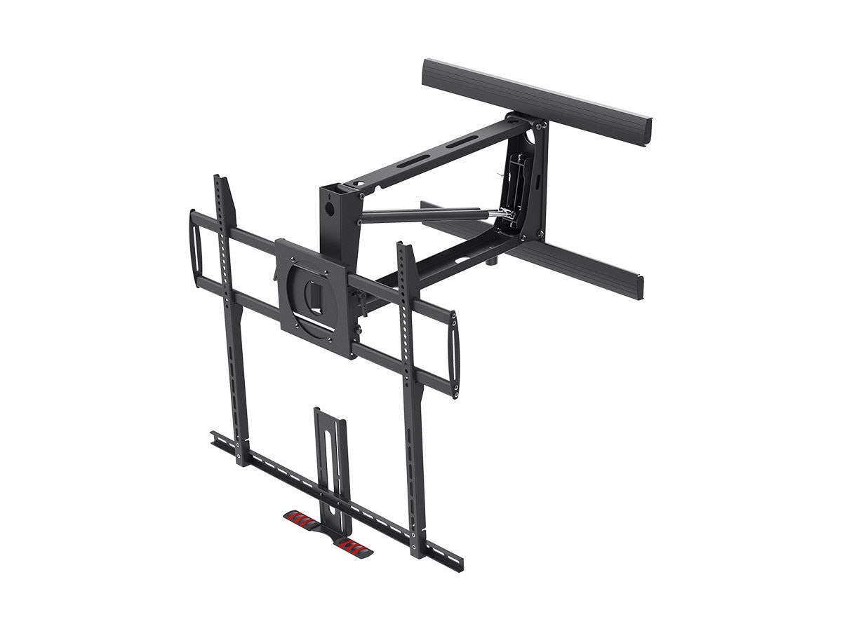 Monoprice Above Fireplace Pull-Down Full-Motion Articulating TV Wall Mount Bracket For TVs 55in to 100in, Max Weight 154lbs, VESA Patterns Up to 800x600, Rotating, Height Adjustable (Open Box)-Large-Image-1