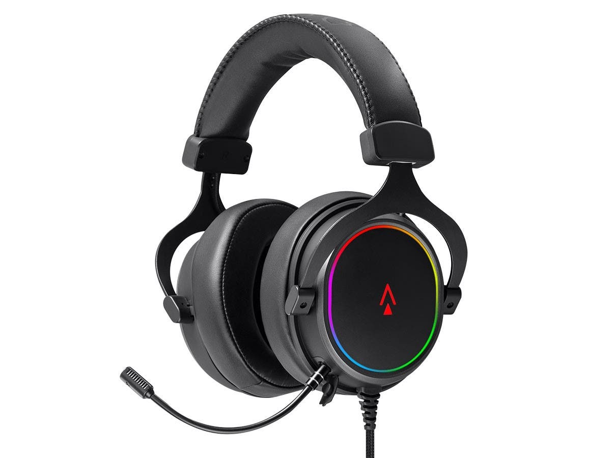 Dark Matter by Monoprice Supernova USB Gaming Headset - 53mm, Virtual 7.1 Surround, Detachable ANC Mic, PU Leather/Aluminum, RGB, PC Only - main image