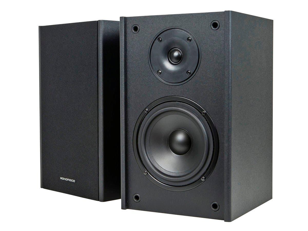 Monoprice Premium 5.25 Inch 2-Way Bookshelf Speakers (Pair) - Black Finish (Open Box)-Large-Image-1