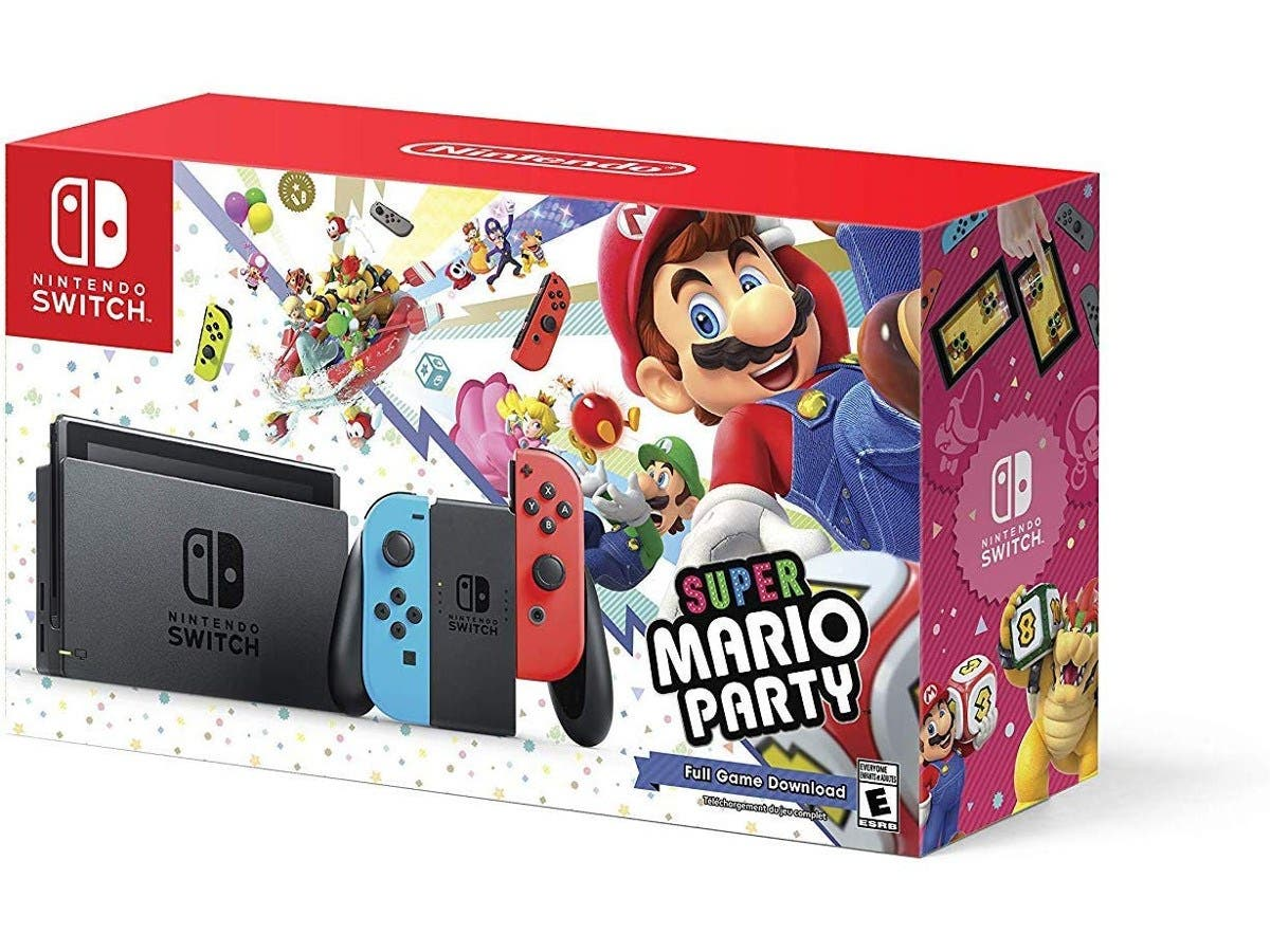Nintendo Switch w/ Super Mario Party (Full Game Download) - Bundle Edition-Large-Image-1