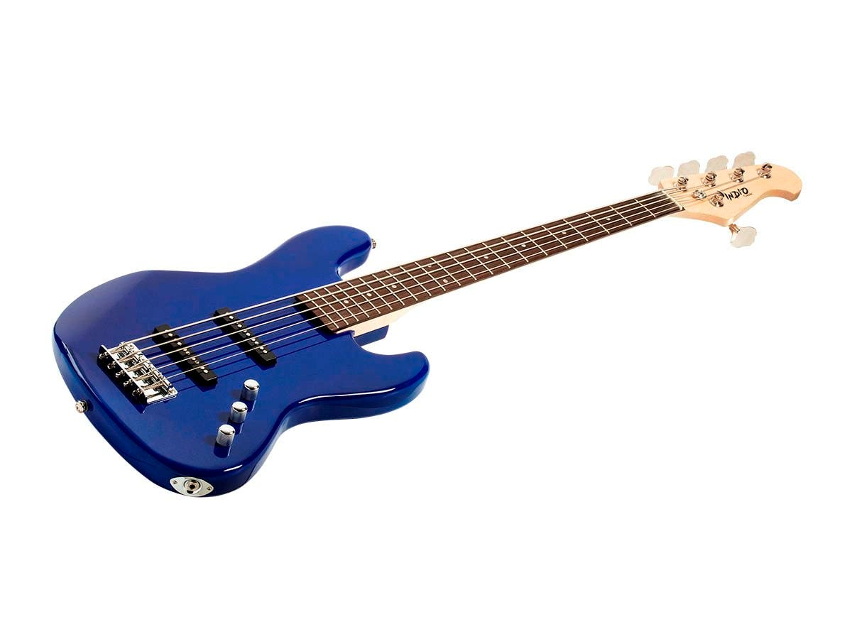 Monoprice Indio Jamm 5-string Electric Bass with Gig Bag Blue (Open Box)-Large-Image-1