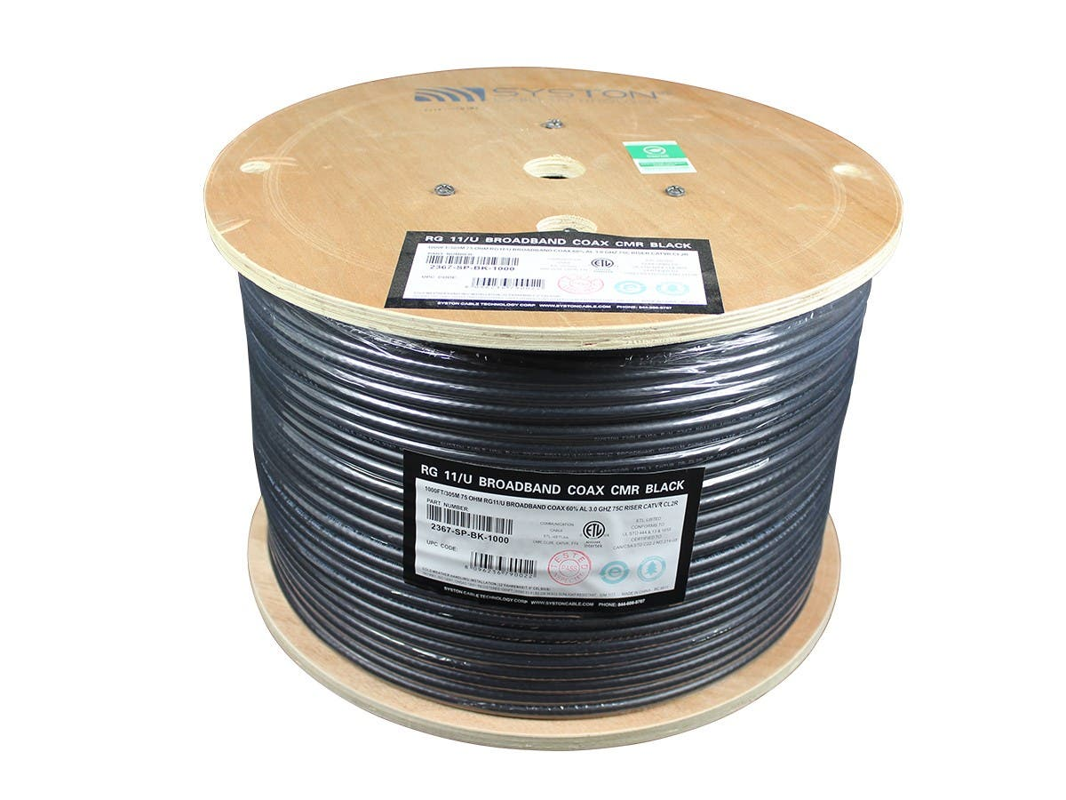 Syston 1000ft RG-11/U 3.0 GHz (14AWG) Broadband CATVR/CL2R/CMR Bulk Coax Cable Spool, Black-Large-Image-1