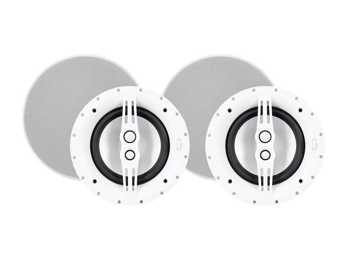 Sycamore by Monoprice Architectural Ceiling Speakers 8in 3-way Aluminum with Micro Ceramic Composite Mid and Tweeter (Pair)(Open Box)-Large-Image-1