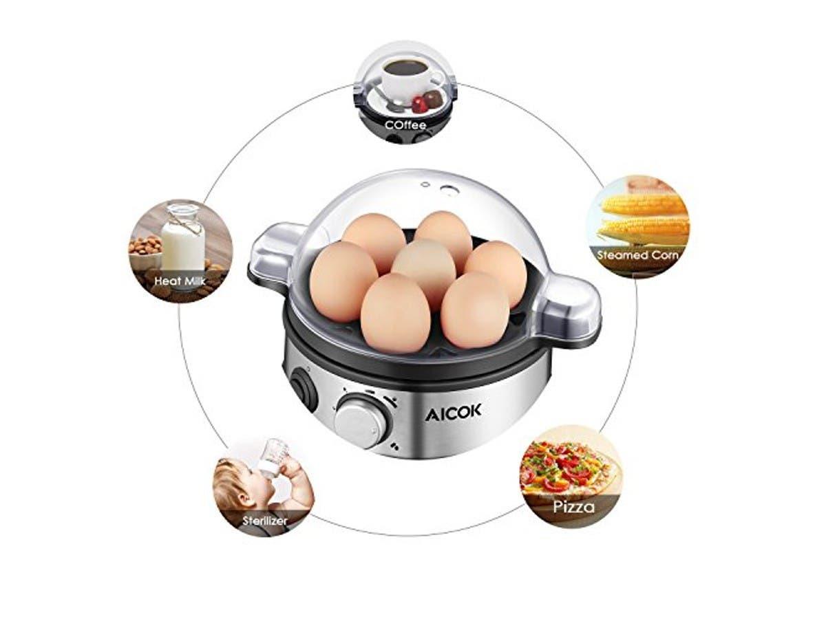 Aicok Egg Cooker, Egg Boiler, Electric Egg Maker with 7 Egg Capacity, Egg Steamer Stainless Steel-Large-Image-1