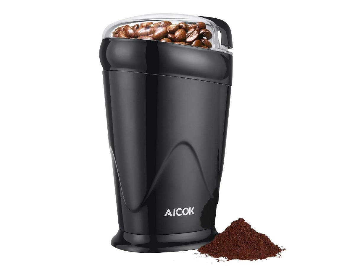 Coffee Grinder Electric Aicok, One Button Coffee Bean Grinder, 12 Cup Portable Spice Grinder Stainless Steel Blades-Large-Image-1