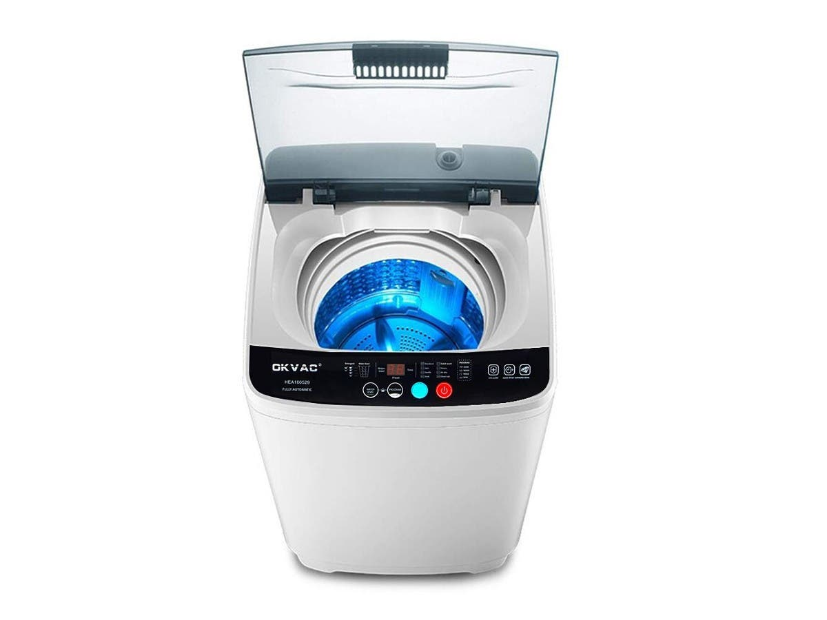 Portable Washing Machine, 8lbs Top Load Washer&Spin, 8 Preset Programs Panel with Child Lock-Large-Image-1