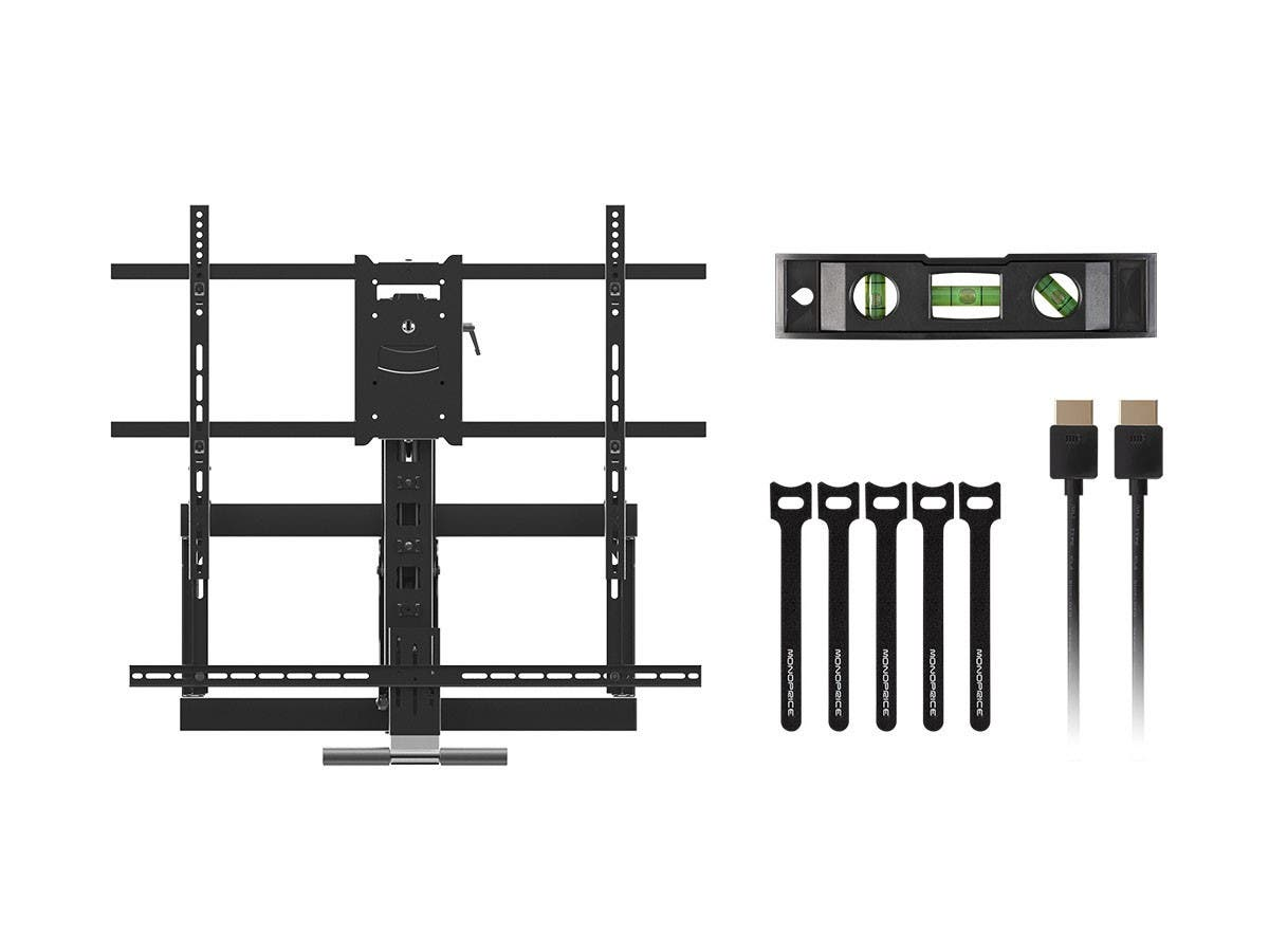 Monoprice Above Fireplace Pull-Down Full-Motion Articulating TV Wall Mount w/ Floating Soundbar Mount- For TVs 55in to 80in, Max Weight 132lbs, VESA Patterns Up to 800x500, Rotating, Height Adjustable - main image
