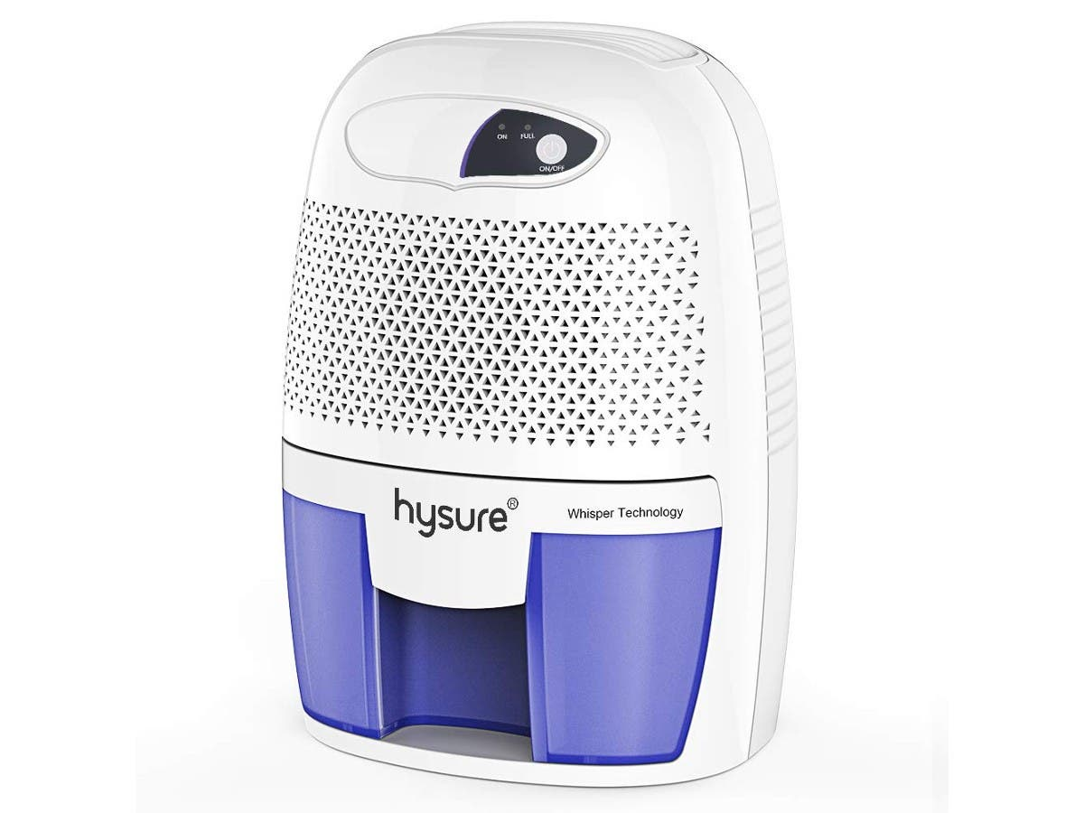 Hysure Portable Mini Dehumidifier 2201 Cubic Feet Electric Safe Dehumidifier for Bedroom Home Crawl Space Bathroo RV Baby Room - White -Large-Image-1