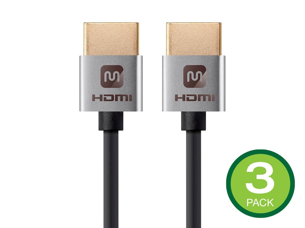 Monoprice 4K Slim High Speed HDMI Cable 1ft - 18Gbps Silver - 3 Pack - main image