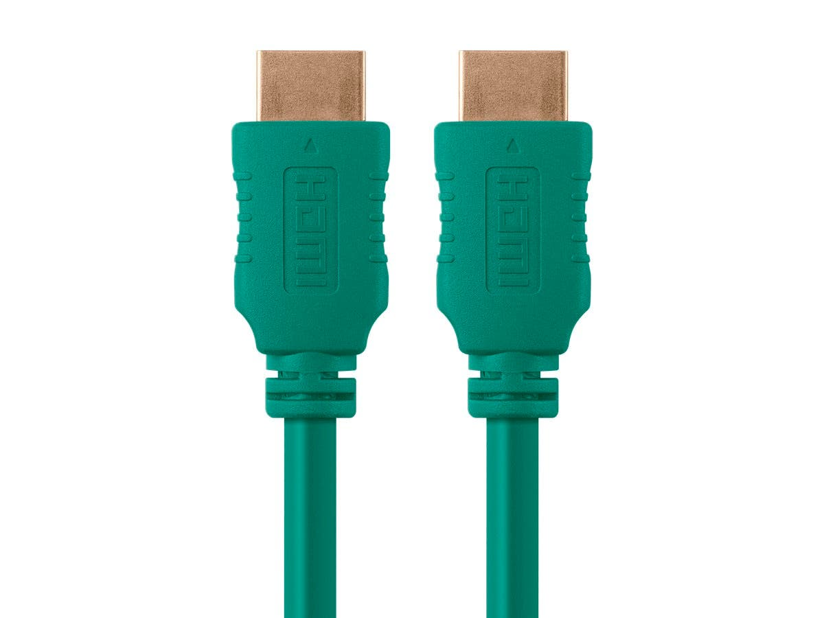 Monoprice Select Series High Speed HDMI Cable - 4K@60Hz HDR 18Gbps YUV 4:4:4 28AWG 10ft, Green-Large-Image-1