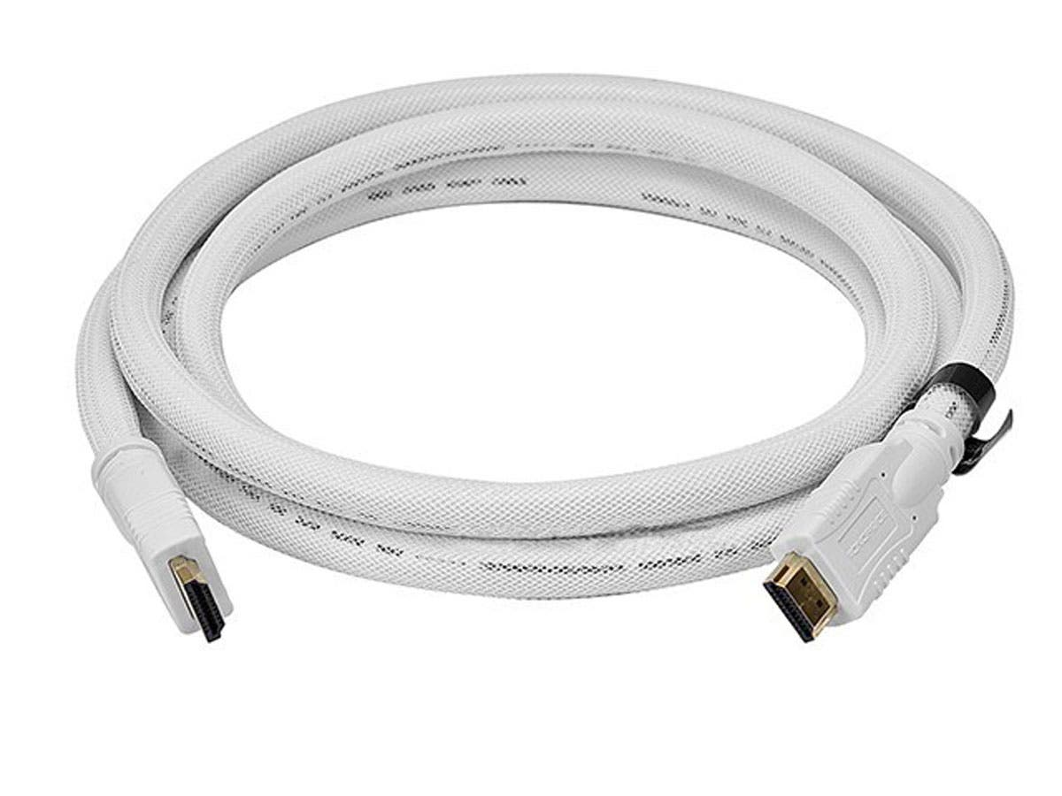 Monoprice Commercial Series High Speed HDMI Cable - 4K@24Hz, 10.2Gbps, 24AWG, CL2, 10ft, White-Large-Image-1