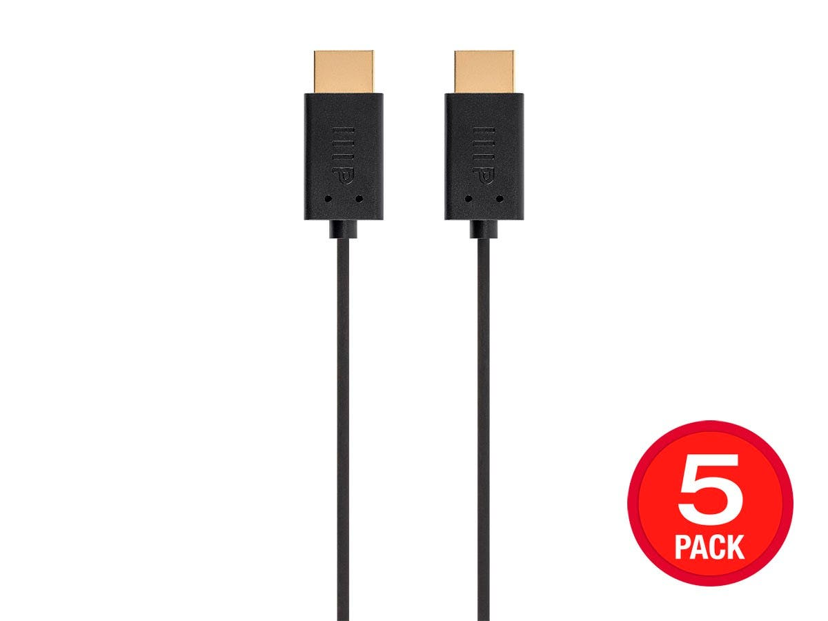 Monoprice 4K UltraFlex Small Diameter High Speed HDMI Cable 2ft - 18Gbps Black - 5 Pack - main image