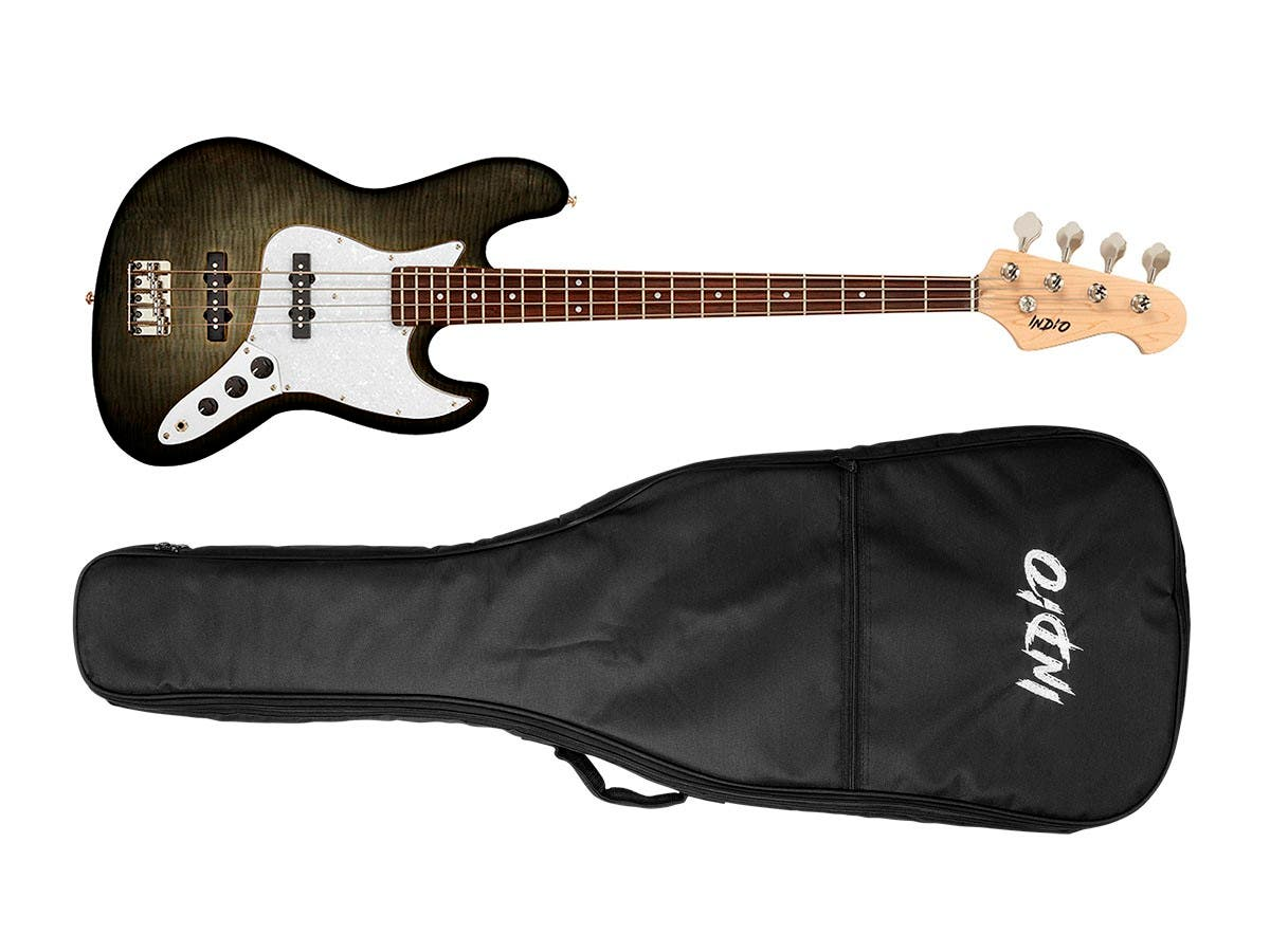 indio by monoprice jamm flamed maple electric bass with gig bag charcoal open box. Black Bedroom Furniture Sets. Home Design Ideas