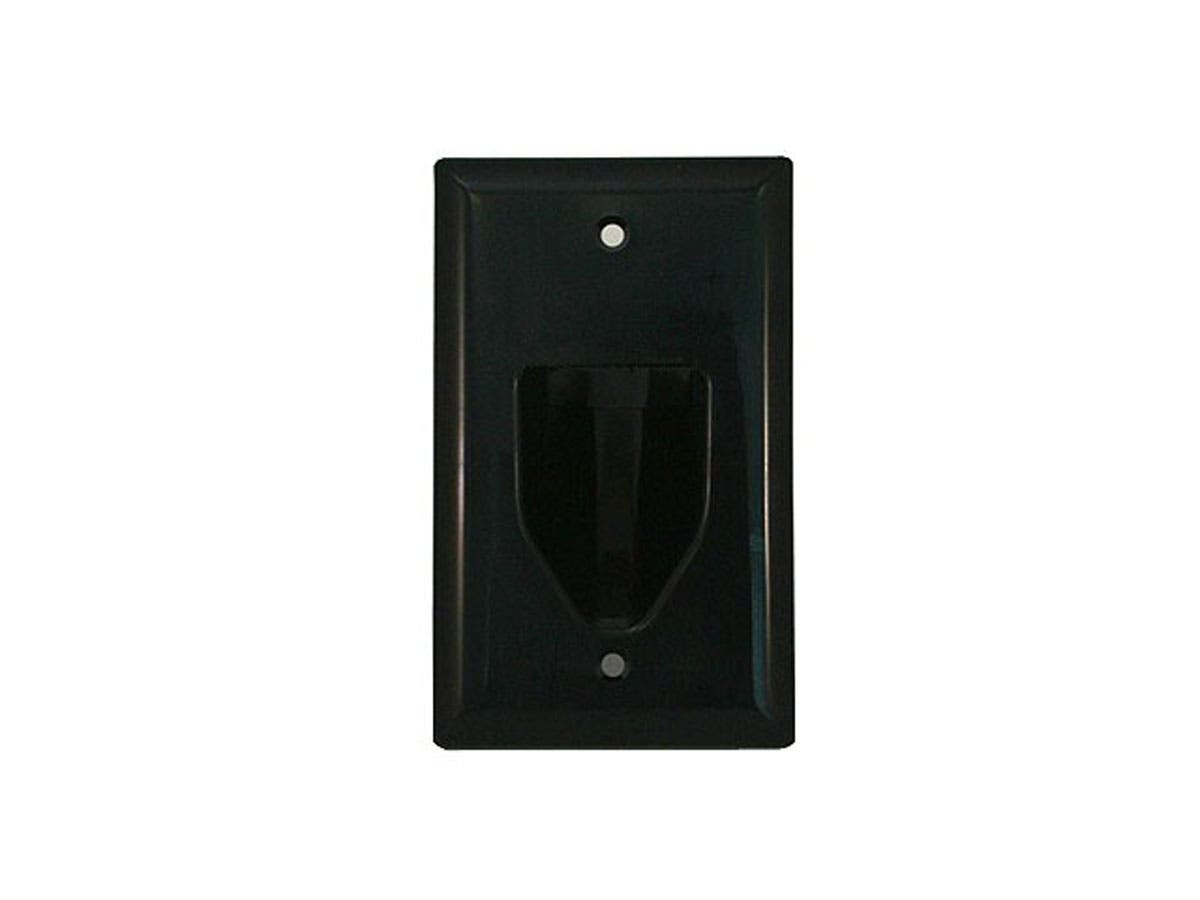 1-Gang Recessed Low Voltage Cable Wall Plate, Black
