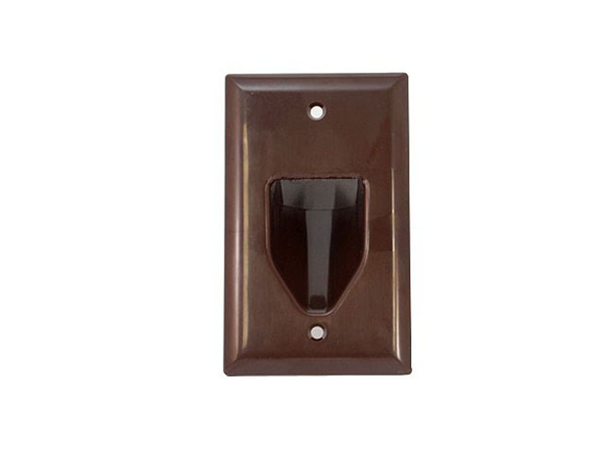 1-Gang Recessed Low Voltage Cable Wall Plate - Brown