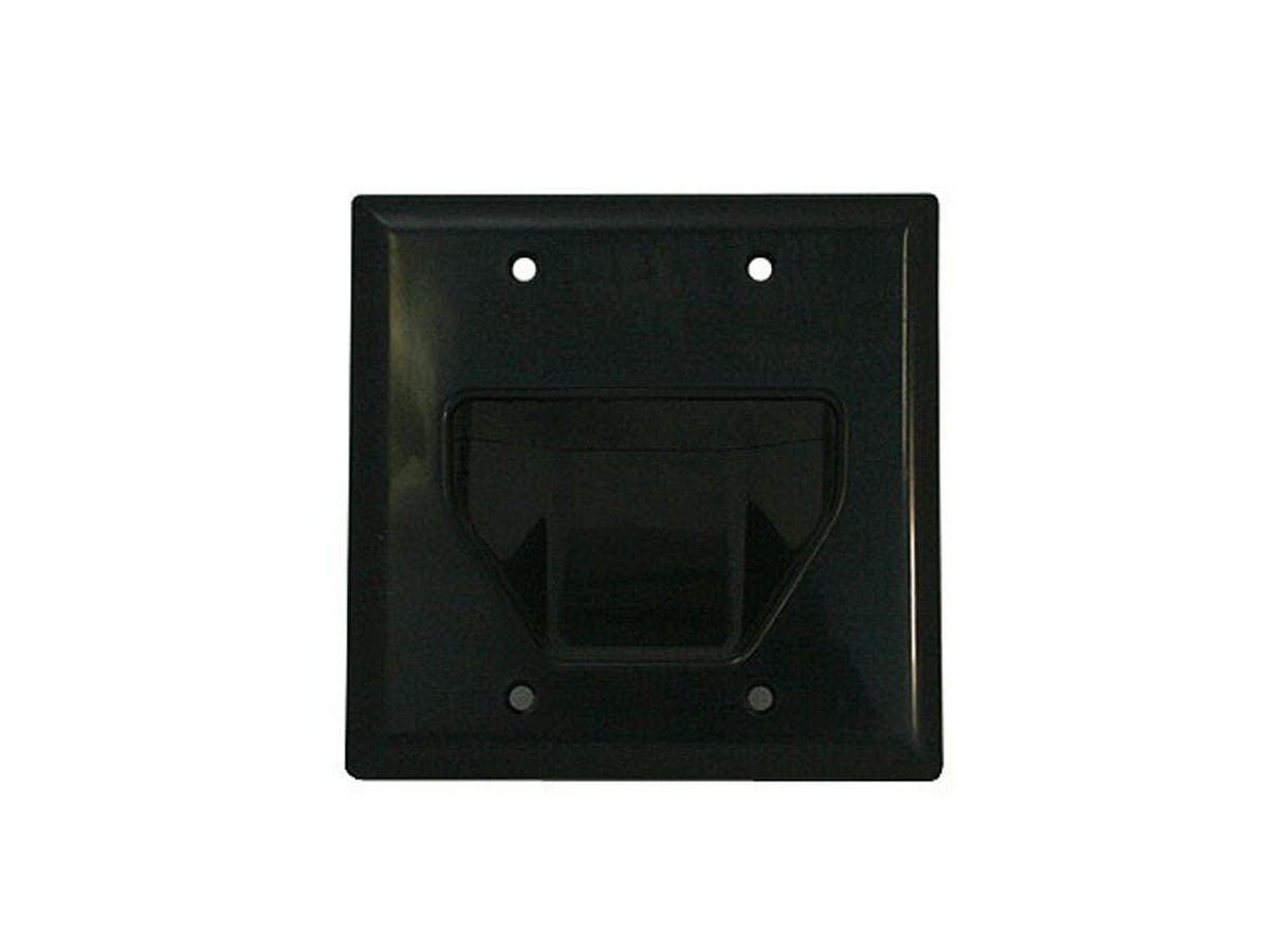 2-Gang Recessed Low Voltage Cable Wall Plate - Black