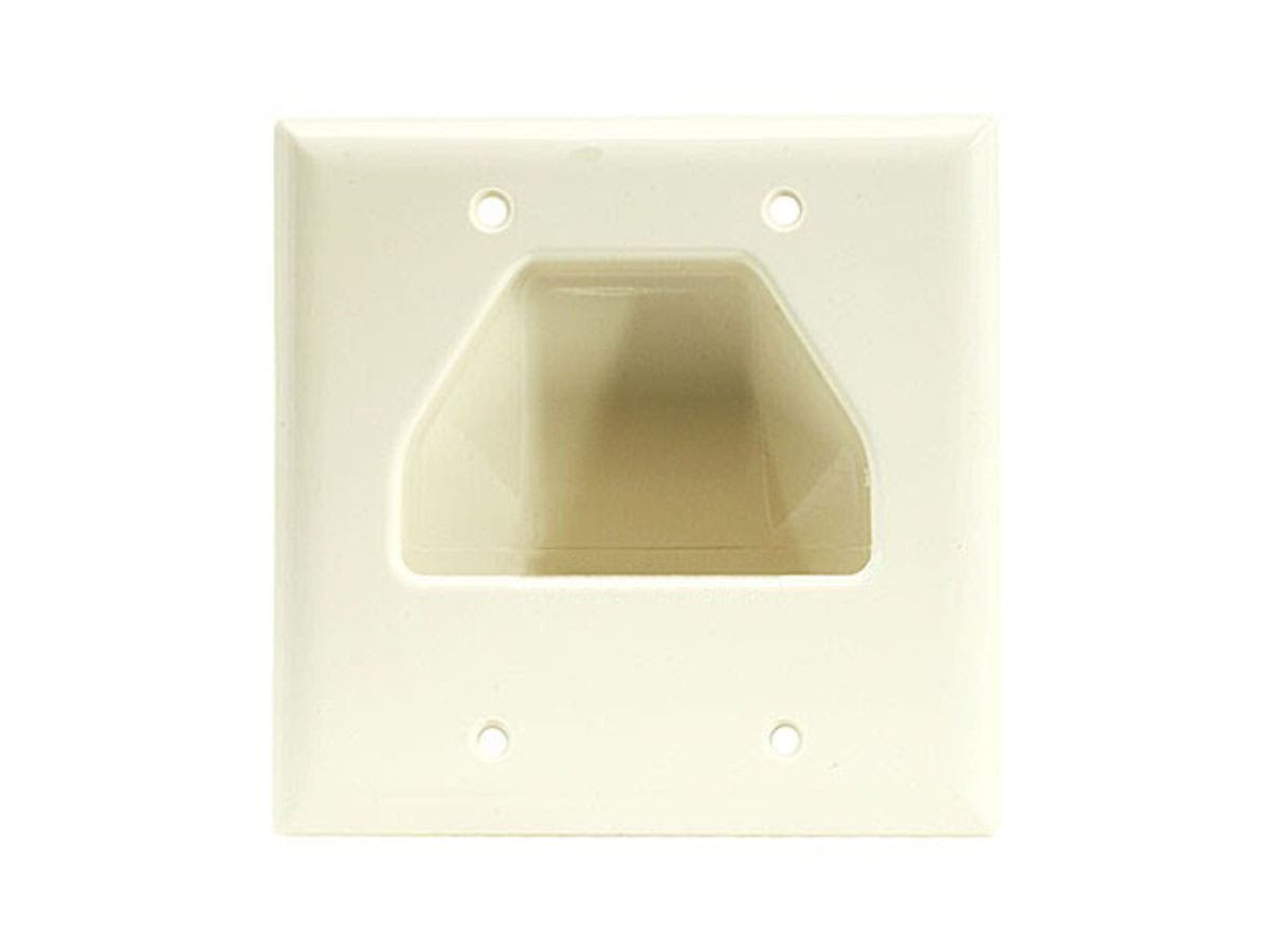 White Monoprice 2-Gang Recessed Low Voltage Cable Wall Plate