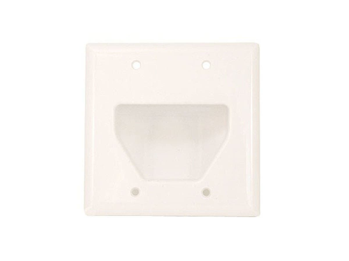 Monoprice 2-Gang Recessed Low Voltage Cable Wall Plate, White-Large-Image-1