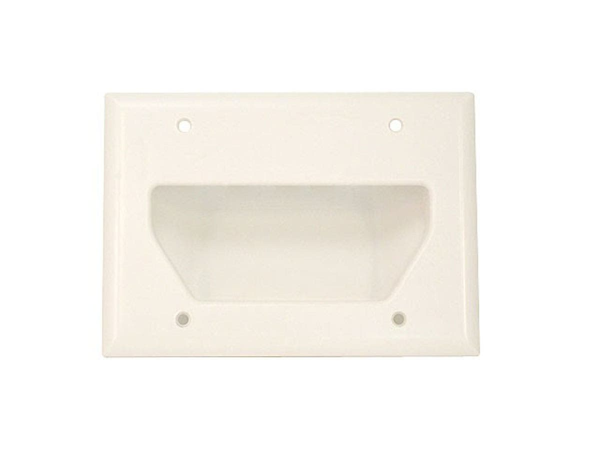 3-Gang Recessed Low Voltage Cable Wall Plate, White