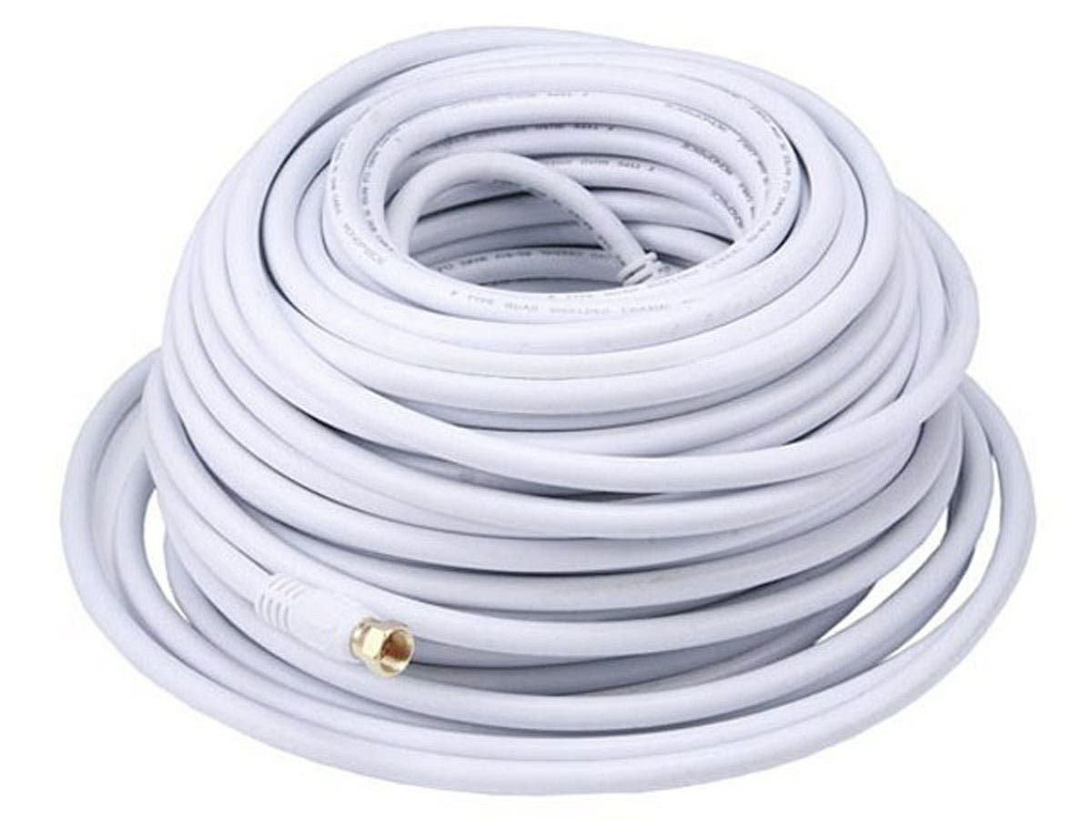 100ft RG6 (18AWG) 75Ohm, Quad Shield, CL2 Coaxial Cable with F Type Connector - White